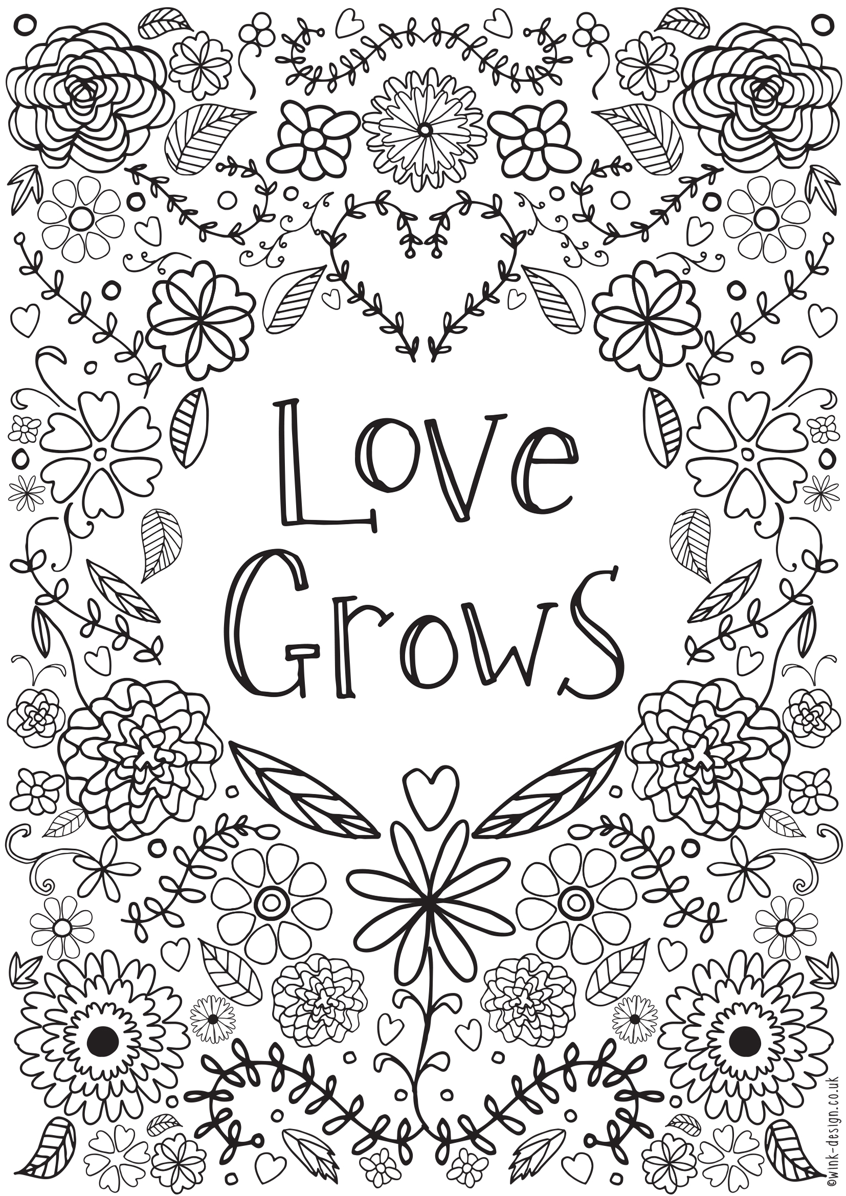 Love grows colouring page