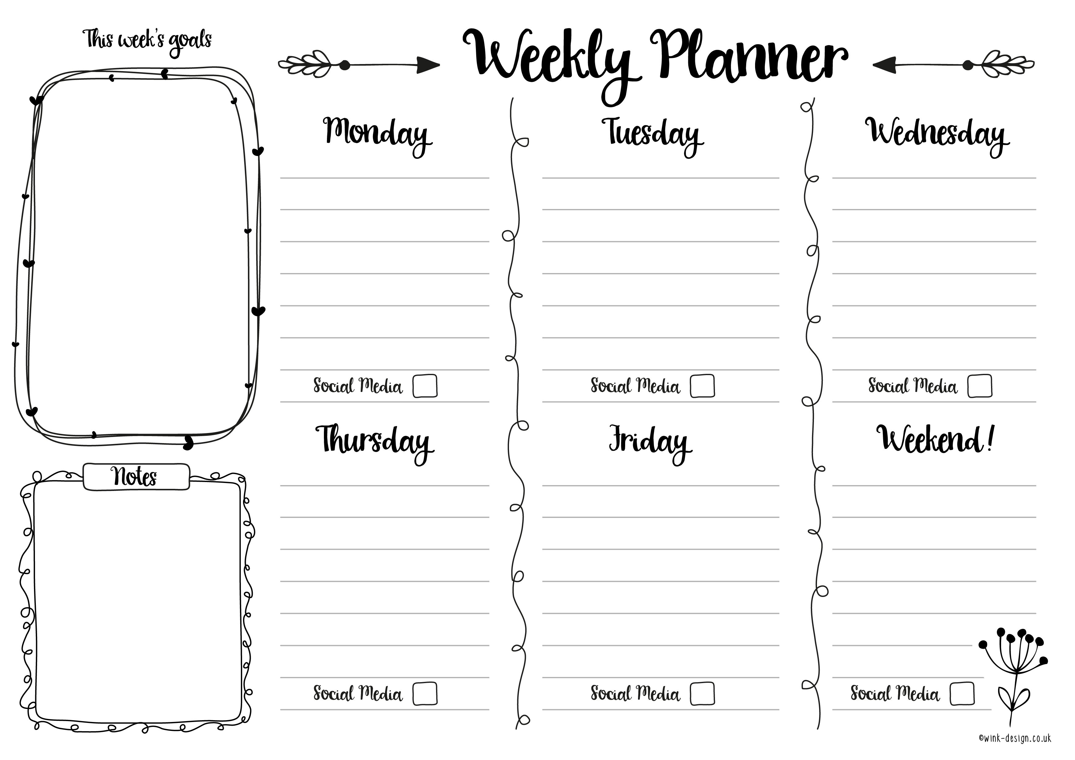 graphic about Free Weekly Planner Printable referred to as Free of charge Printable Weekly Planner - Wink Style